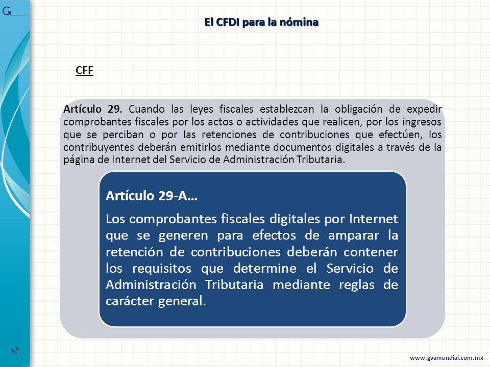El CFDI para la nóminaCFF.
