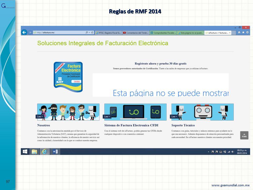 Reglas de RMF 2014 97 www.gvamundial.com.mx