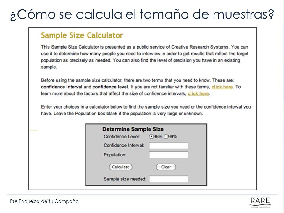 ¿Cómo se calcula el tamaño de muestras