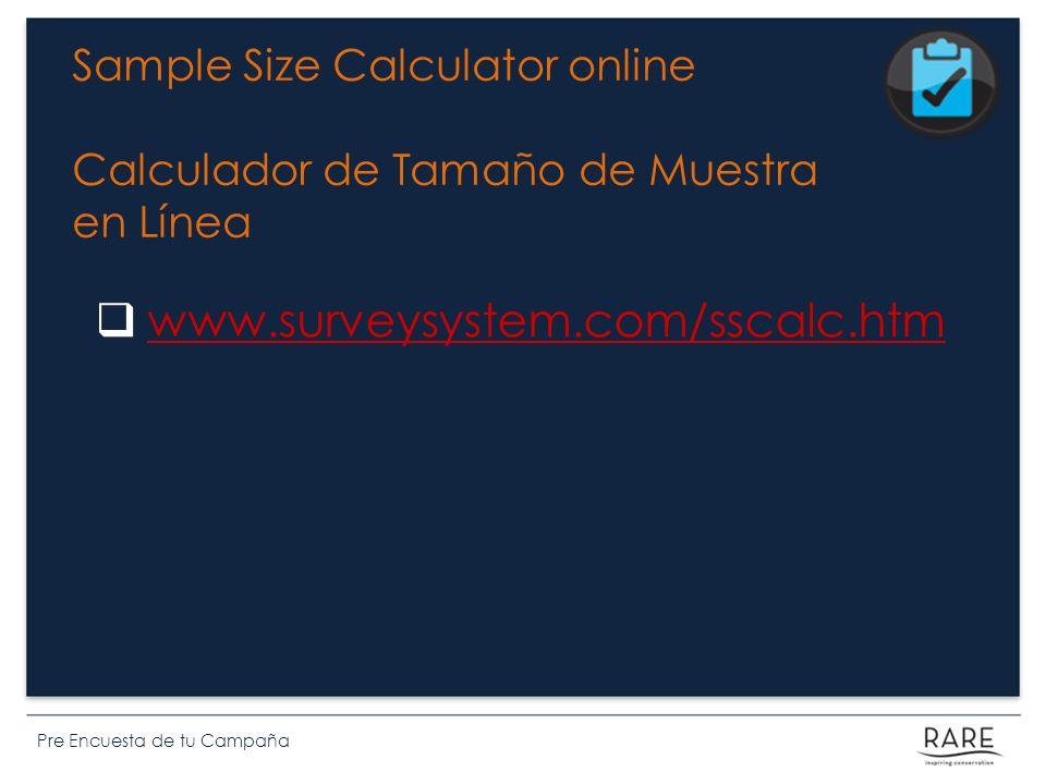 Sample Size Calculator online Calculador de Tamaño de Muestra en Línea