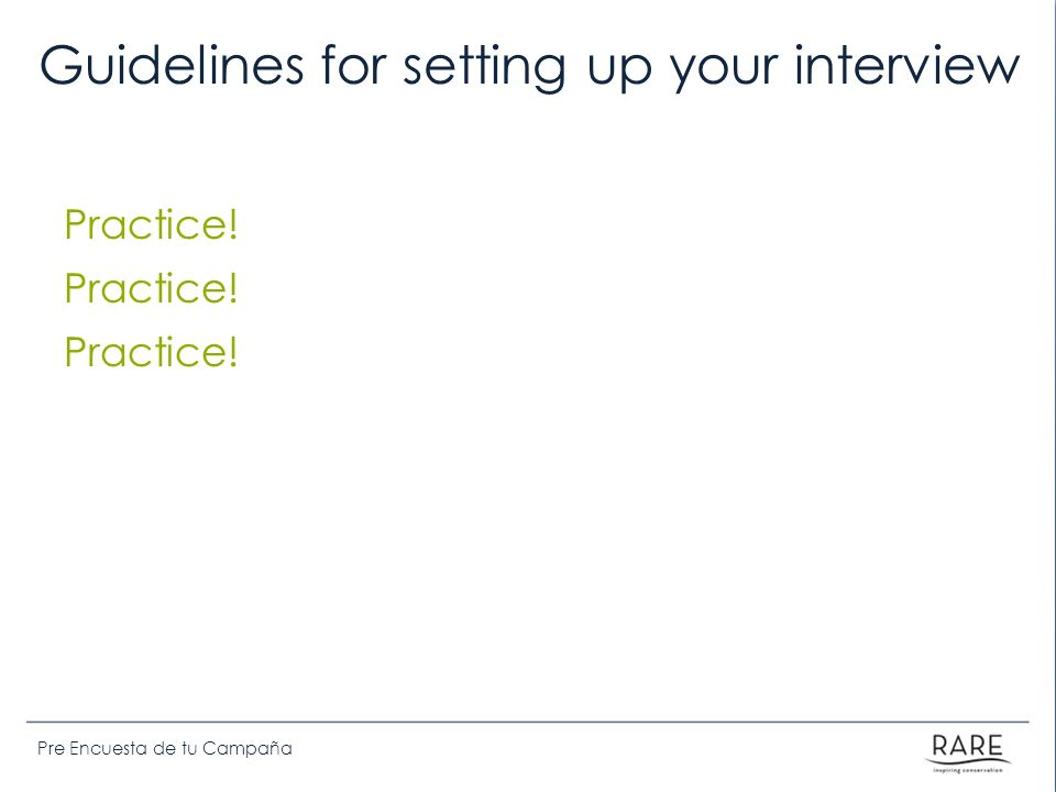Guidelines for setting up your interview