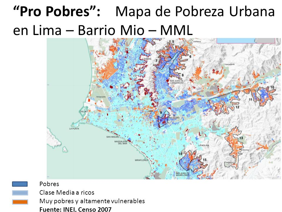 Pro Pobres : Mapa de Pobreza Urbana en Lima – Barrio Mio – MML