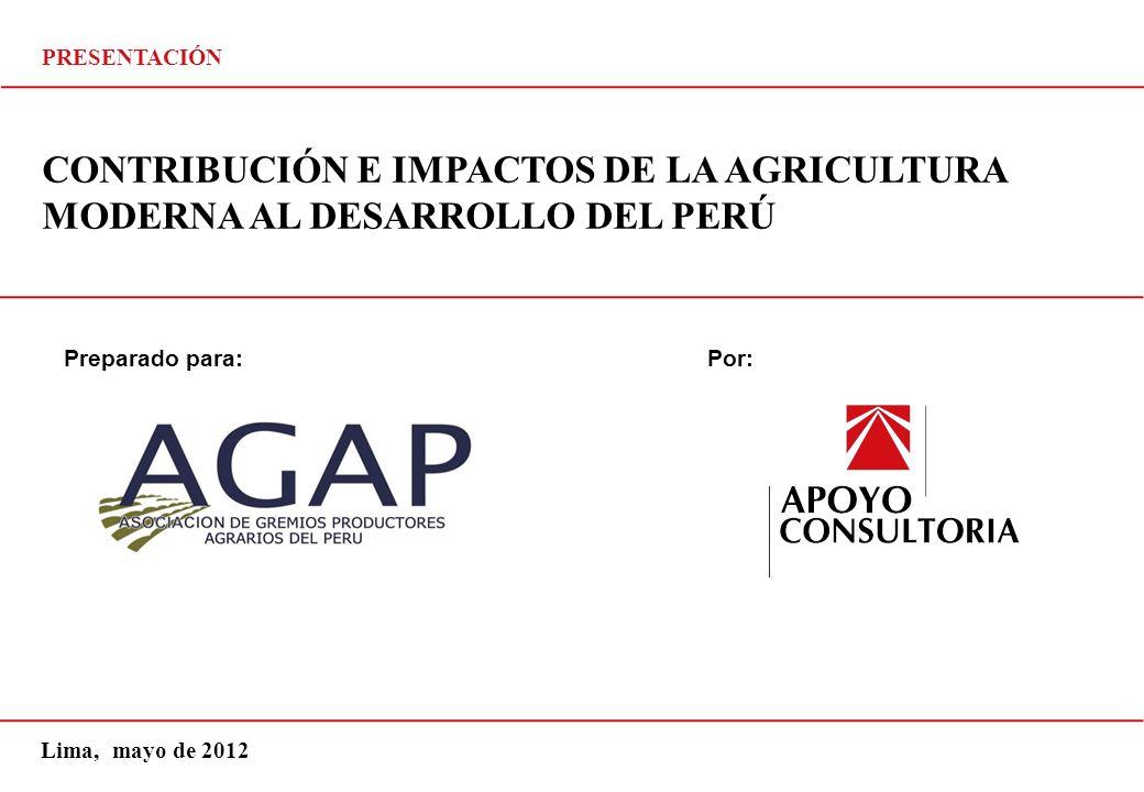 PRESENTACIÓN CONTRIBUCIÓN E IMPACTOS DE LA AGRICULTURA MODERNA AL DESARROLLO DEL PERÚ. Preparado para: