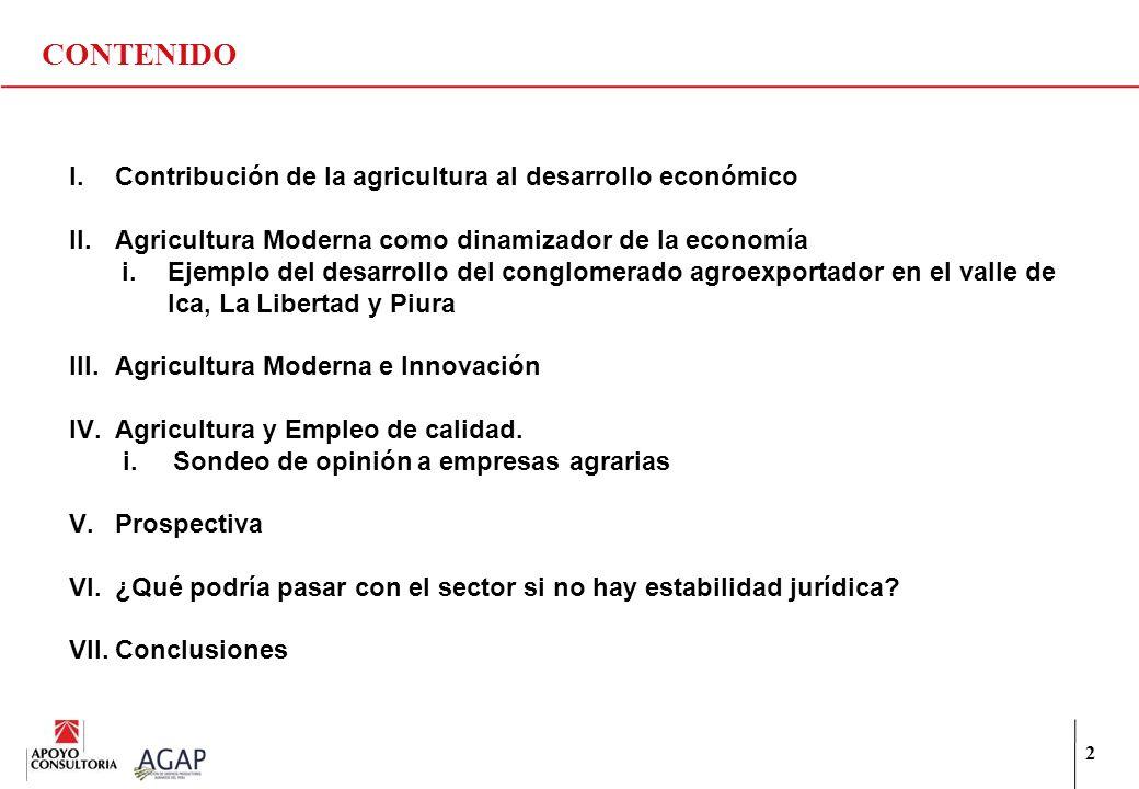 CONTENIDO Contribución de la agricultura al desarrollo económico