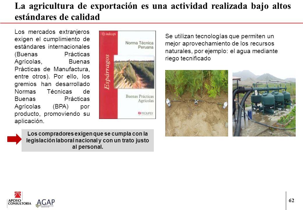 La agricultura de exportación es una actividad realizada bajo altos estándares de calidad