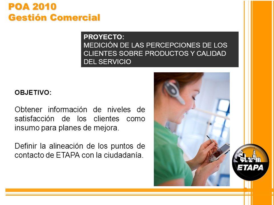 POA 2010 Gestión Comercial PROYECTO: MEDICIÓN DE LAS PERCEPCIONES DE LOS CLIENTES SOBRE PRODUCTOS Y CALIDAD DEL SERVICIO.
