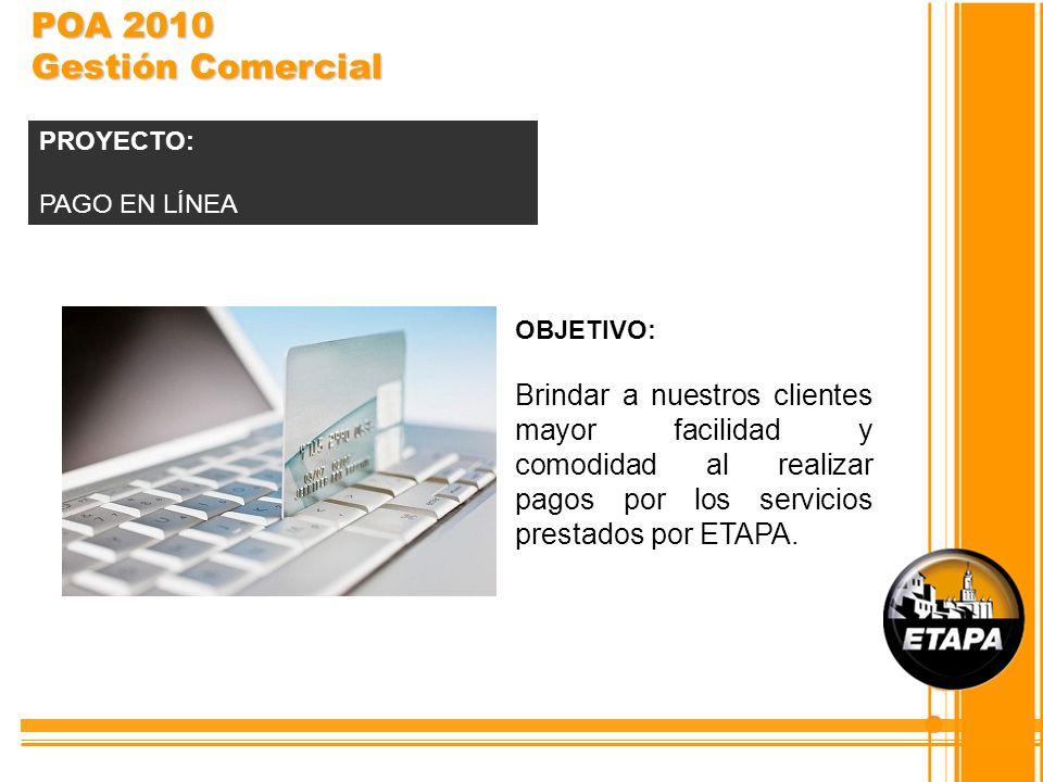 POA 2010 Gestión Comercial PROYECTO: PAGO EN LÍNEA. OBJETIVO: