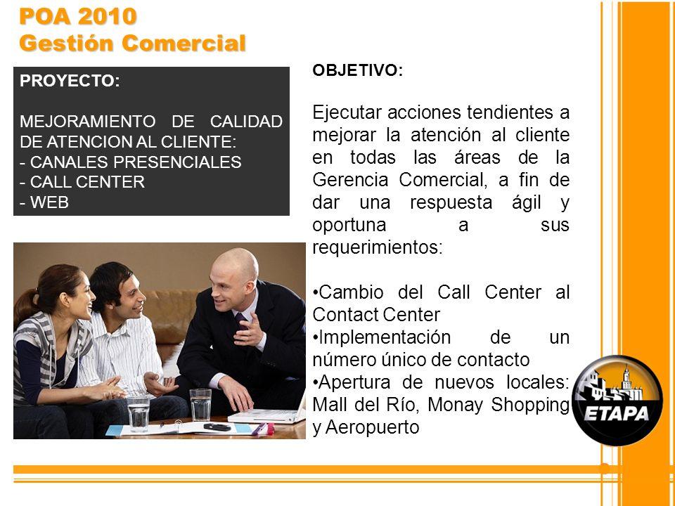 POA 2010 Gestión Comercial OBJETIVO:
