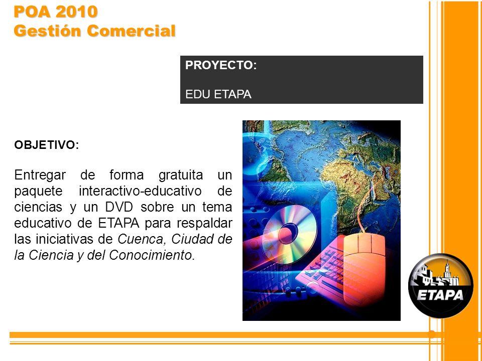 POA 2010 Gestión Comercial PROYECTO: EDU ETAPA. OBJETIVO: