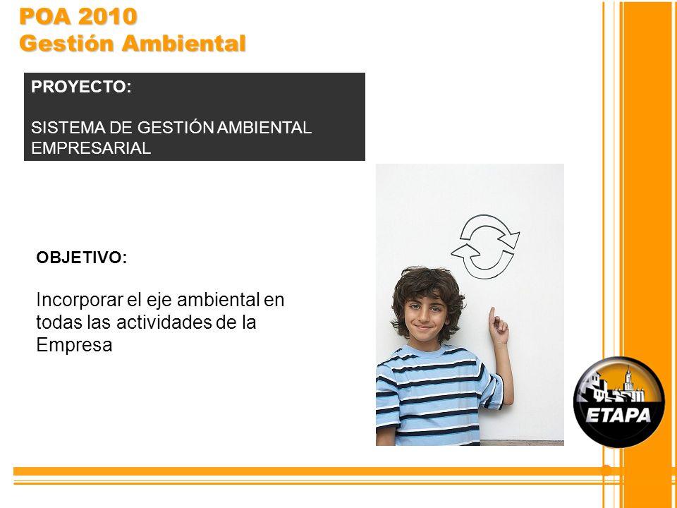 POA 2010 Gestión Ambiental PROYECTO: SISTEMA DE GESTIÓN AMBIENTAL EMPRESARIAL. OBJETIVO: