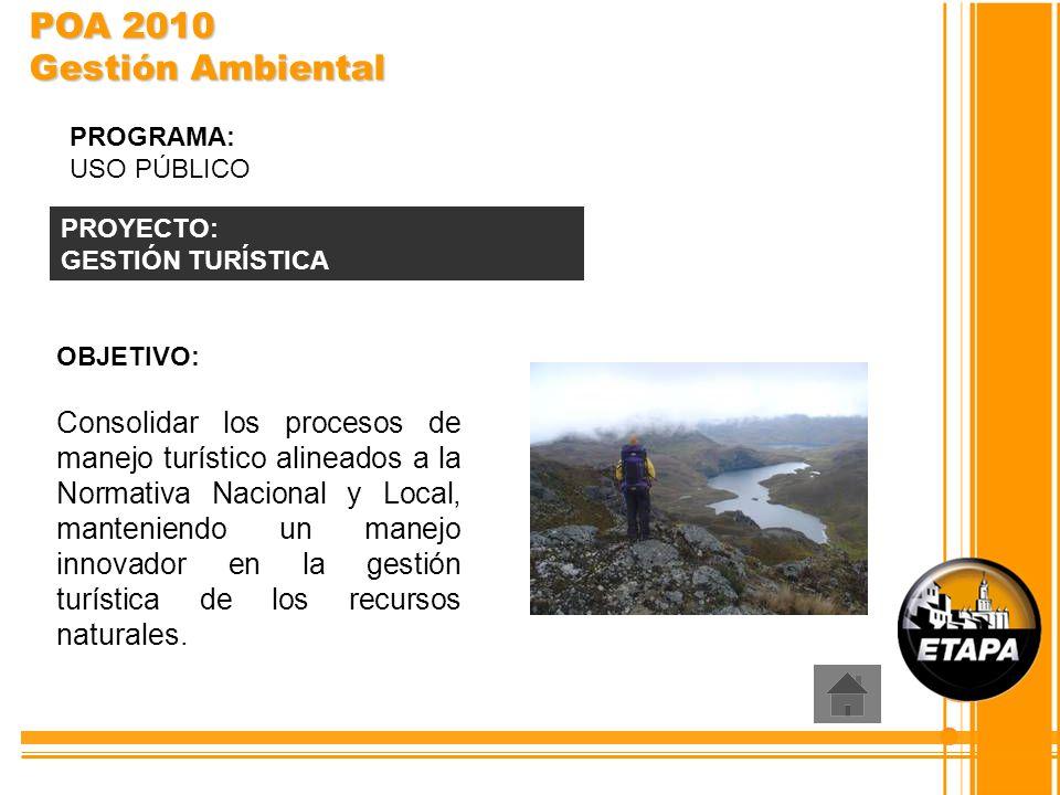 POA 2010 Gestión Ambiental PROGRAMA: USO PÚBLICO. PROYECTO: GESTIÓN TURÍSTICA. OBJETIVO: