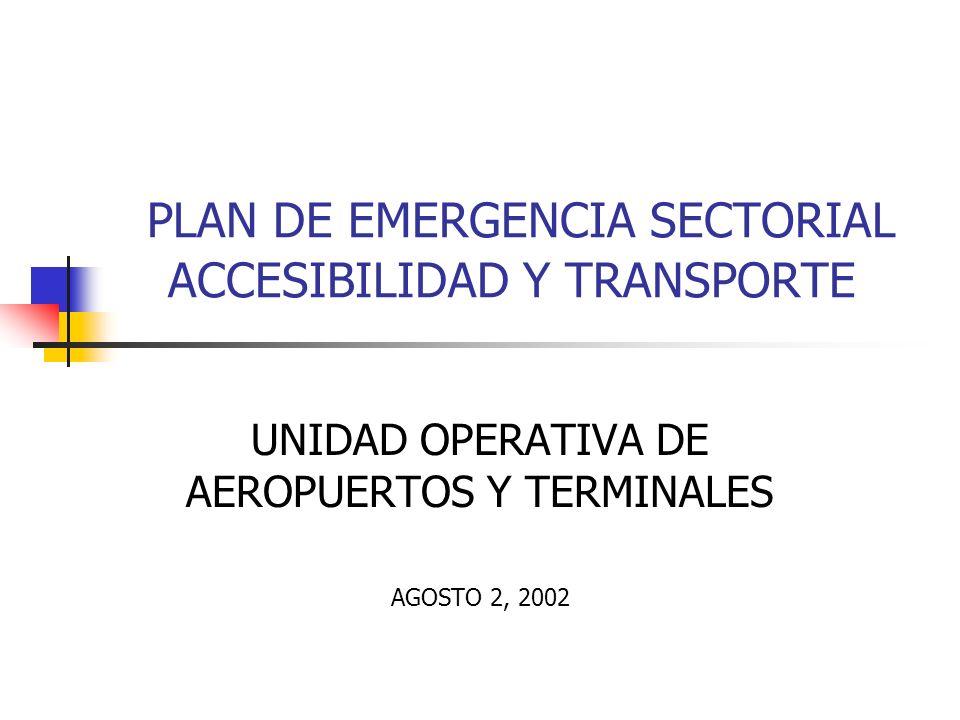 PLAN DE EMERGENCIA SECTORIAL ACCESIBILIDAD Y TRANSPORTE