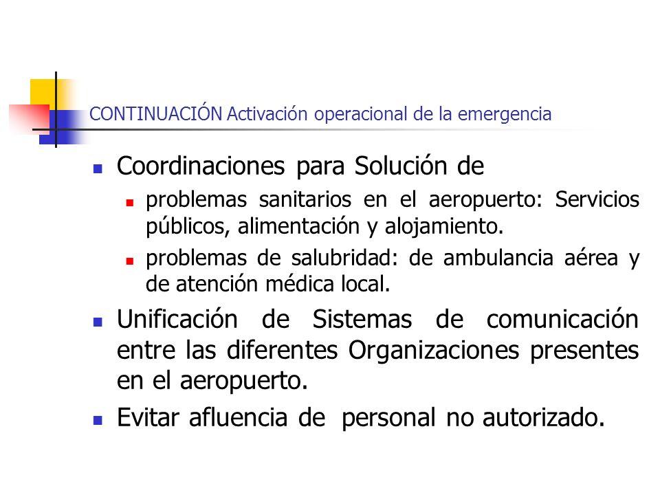 CONTINUACIÓN Activación operacional de la emergencia