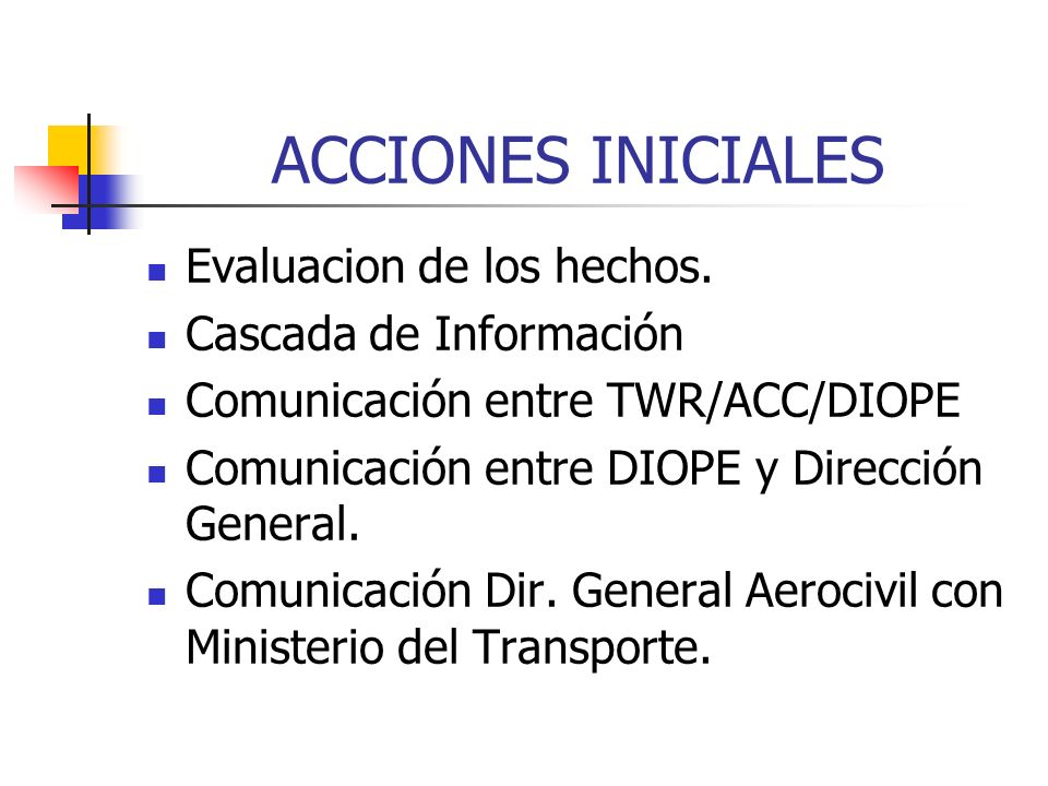 ACCIONES INICIALES Evaluacion de los hechos. Cascada de Información
