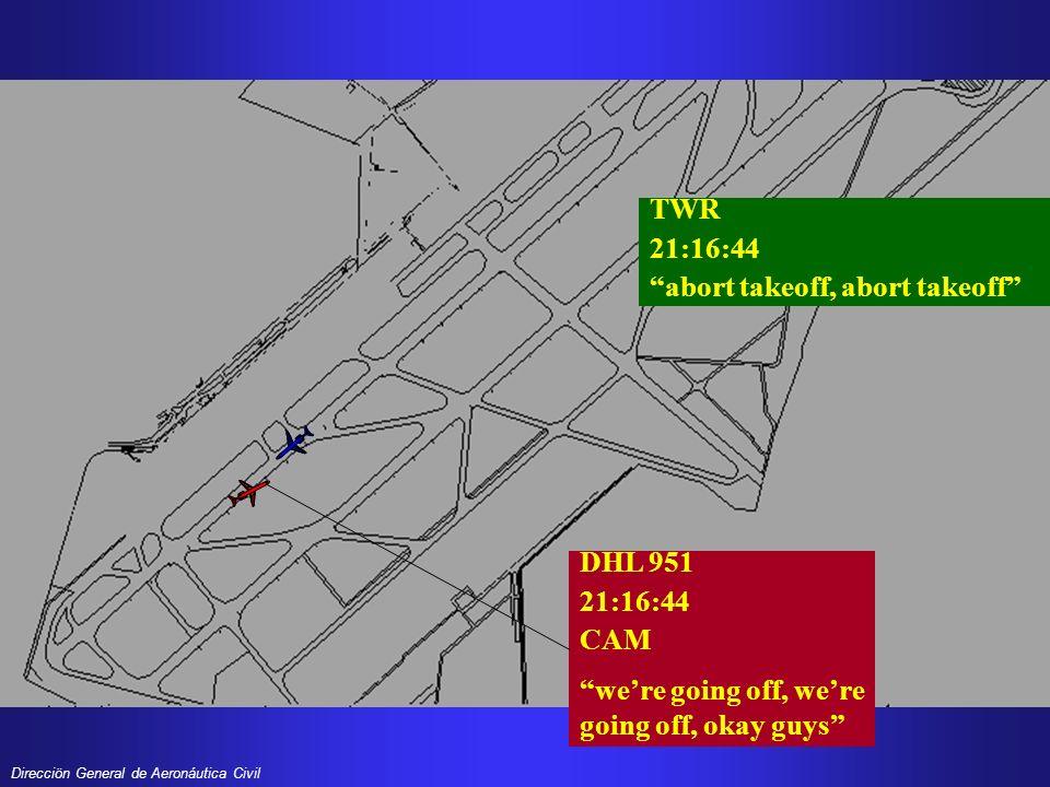 TWR 21:16:44. abort takeoff, abort takeoff DHL 951.