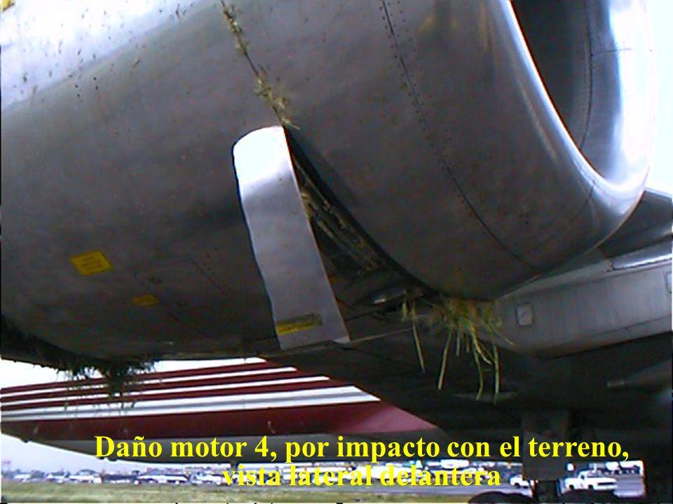 Daño motor 4, por impacto con el terreno, vista lateral delantera