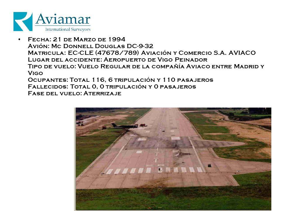 Fecha: 21 de Marzo de 1994 Avión: Mc Donnell Douglas DC-9-32 Matricula: EC-CLE (47678/789) Aviación y Comercio S.A.