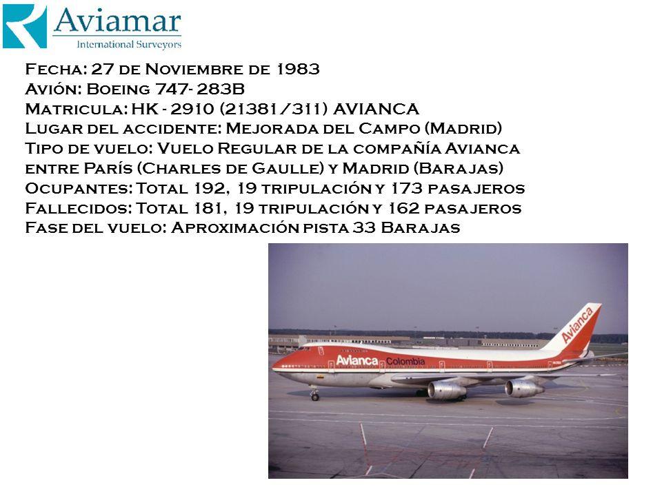 Fecha: 27 de Noviembre de 1983 Avión: Boeing 747- 283B Matricula: HK - 2910 (21381/311) AVIANCA Lugar del accidente: Mejorada del Campo (Madrid) Tipo de vuelo: Vuelo Regular de la compañía Avianca