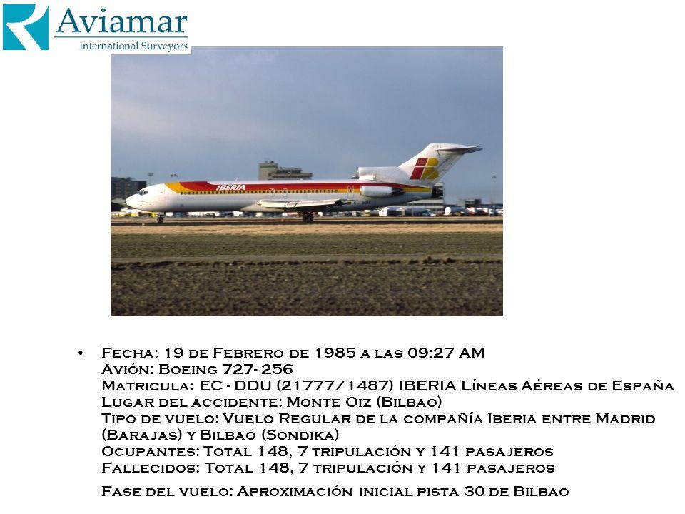 Fecha: 19 de Febrero de 1985 a las 09:27 AM Avión: Boeing 727- 256 Matricula: EC - DDU (21777/1487) IBERIA Líneas Aéreas de España Lugar del accidente: Monte Oiz (Bilbao) Tipo de vuelo: Vuelo Regular de la compañía Iberia entre Madrid (Barajas) y Bilbao (Sondika) Ocupantes: Total 148, 7 tripulación y 141 pasajeros Fallecidos: Total 148, 7 tripulación y 141 pasajeros Fase del vuelo: Aproximación inicial pista 30 de Bilbao