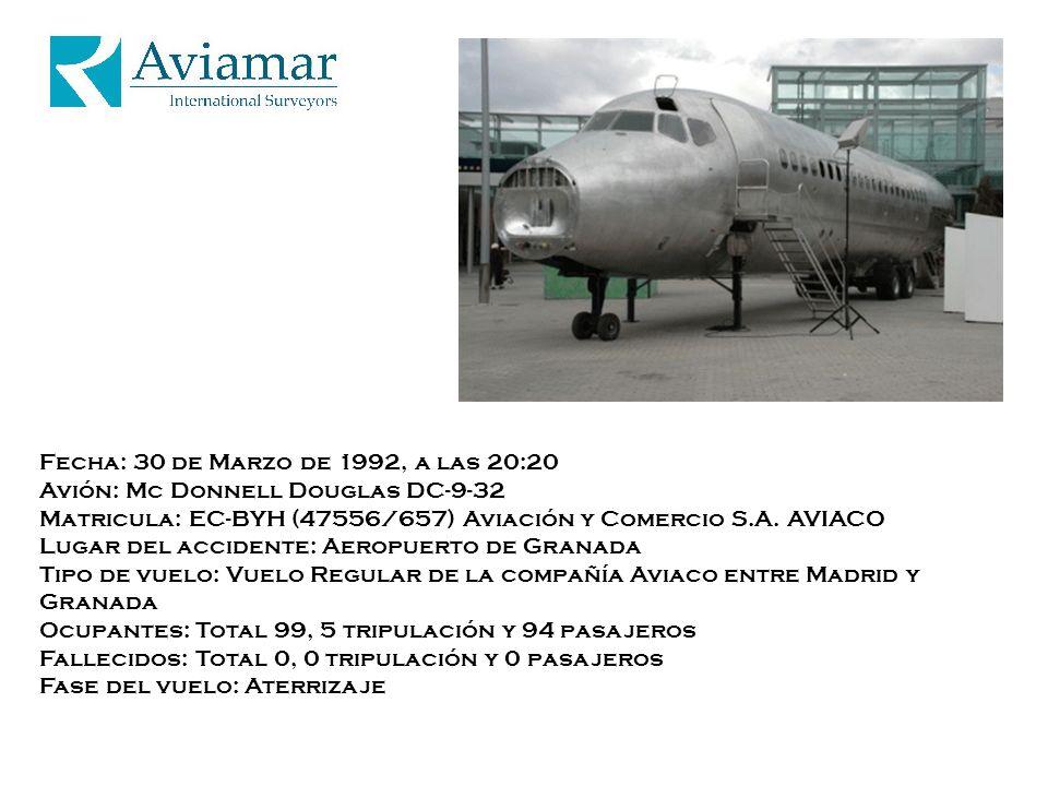 Fecha: 30 de Marzo de 1992, a las 20:20 Avión: Mc Donnell Douglas DC-9-32 Matricula: EC-BYH (47556/657) Aviación y Comercio S.A.