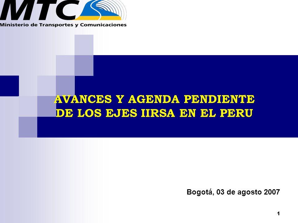 AVANCES Y AGENDA PENDIENTE DE LOS EJES IIRSA EN EL PERU