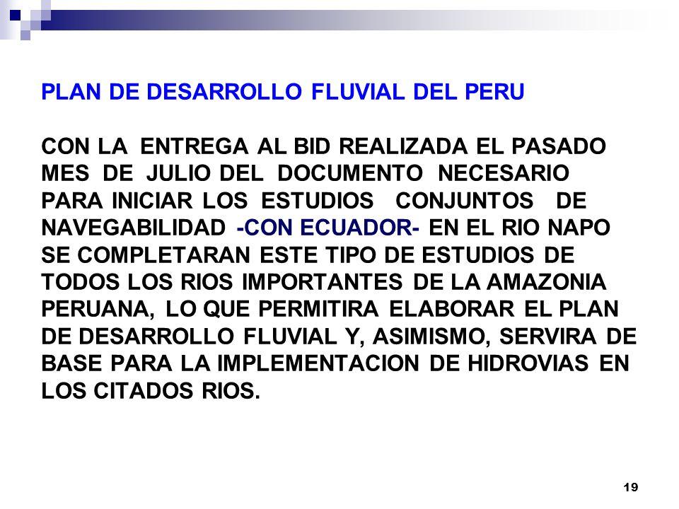 PLAN DE DESARROLLO FLUVIAL DEL PERU CON LA ENTREGA AL BID REALIZADA EL PASADO MES DE JULIO DEL DOCUMENTO NECESARIO PARA INICIAR LOS ESTUDIOS CONJUNTOS DE NAVEGABILIDAD -CON ECUADOR- EN EL RIO NAPO SE COMPLETARAN ESTE TIPO DE ESTUDIOS DE TODOS LOS RIOS IMPORTANTES DE LA AMAZONIA PERUANA, LO QUE PERMITIRA ELABORAR EL PLAN DE DESARROLLO FLUVIAL Y, ASIMISMO, SERVIRA DE BASE PARA LA IMPLEMENTACION DE HIDROVIAS EN LOS CITADOS RIOS.