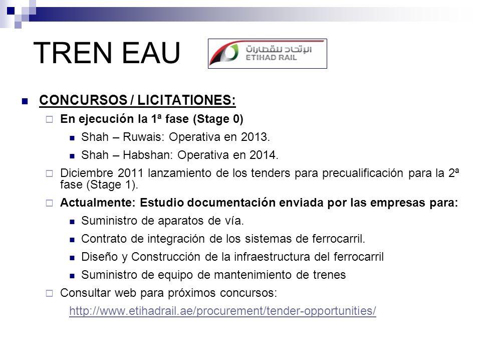 TREN EAU CONCURSOS / LICITATIONES: En ejecución la 1ª fase (Stage 0)