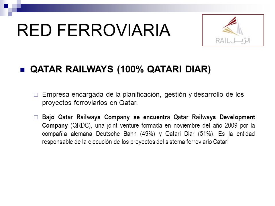 RED FERROVIARIA QATAR RAILWAYS (100% QATARI DIAR)
