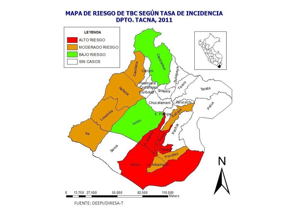 MAPA DE RIESGO DE TBC SEGÚN TASA DE INCIDENCIA