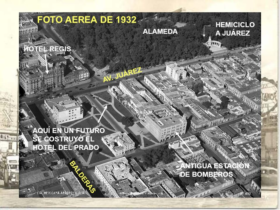 FOTO AEREA DE 1932 HEMICICLO A JUÁREZ ALAMEDA HOTEL REGIS AV. JUÁREZ