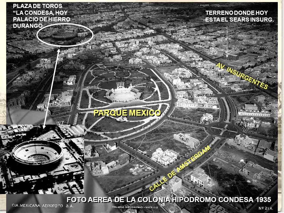 PARQUE MEXICO FOTO AEREA DE LA COLONIA HIPODROMO CONDESA 1935