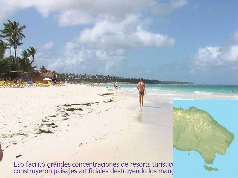 El turismo de masas se ha concentrado en el Este: antiguas plantaciones de caña en llanuras tórridas y secas, de paisaje monótono.