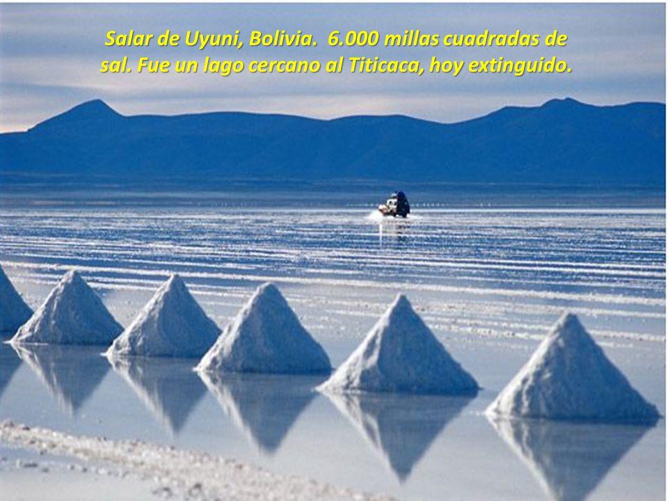 Salar de Uyuni, Bolivia. 6. 000 millas cuadradas de sal