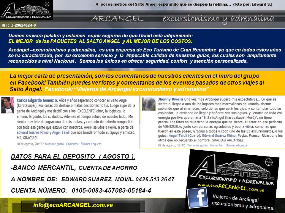 DATOS PARA EL DEPOSITO ( AGOSTO ). -BANCO MERCANTIL, CUENTA DE AHORRO