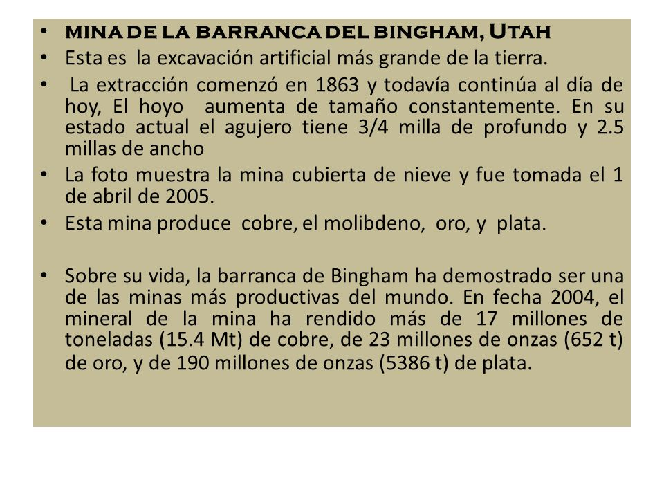 mina de la barranca del bingham, Utah