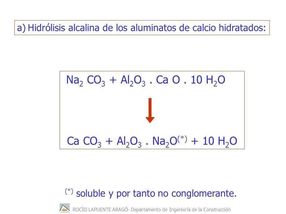 Na2 CO3 + Al2O3 . Ca O . 10 H2O Ca CO3 + Al2O3 . Na2O(*) + 10 H2O