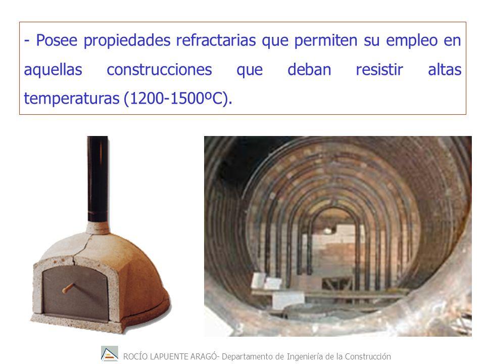 - Posee propiedades refractarias que permiten su empleo en aquellas construcciones que deban resistir altas temperaturas (1200-1500ºC).