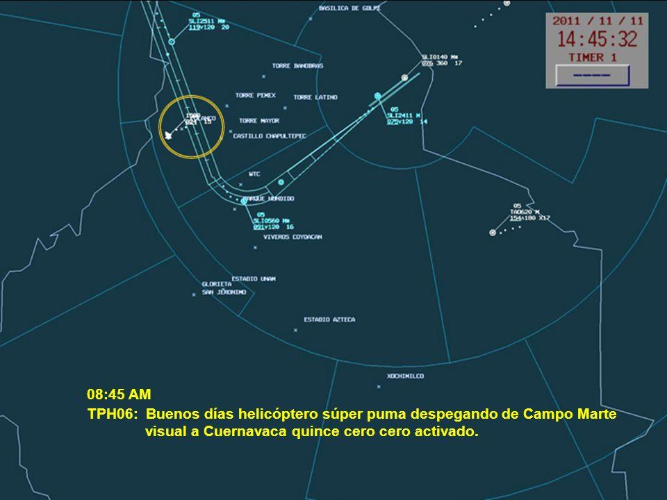 08:45 AM TPH06: Buenos días helicóptero súper puma despegando de Campo Marte.