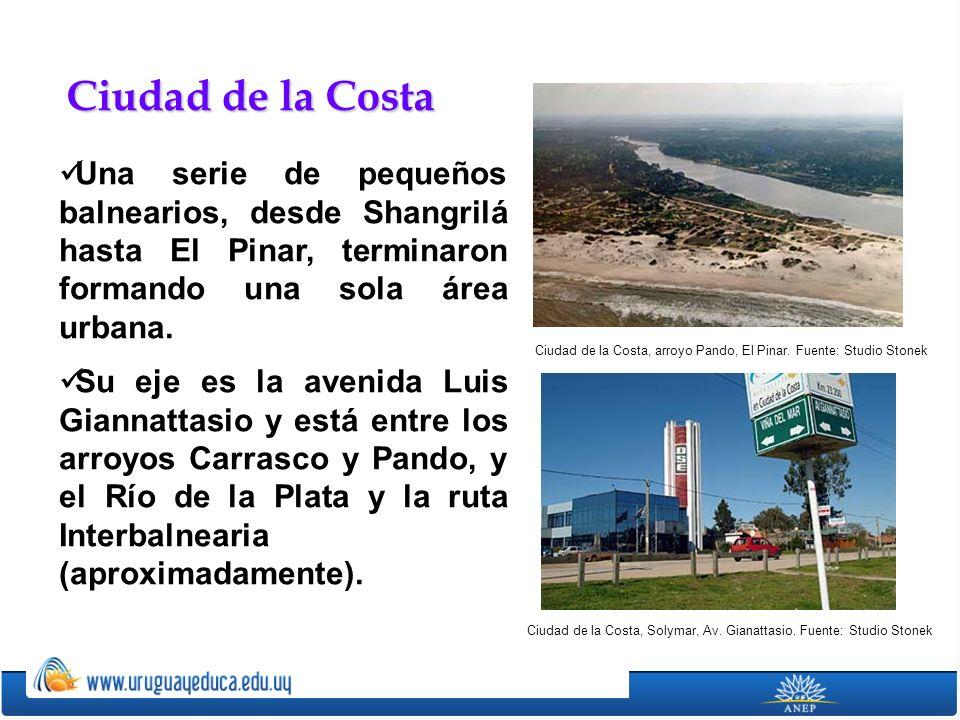 Ciudad de la Costa Una serie de pequeños balnearios, desde Shangrilá hasta El Pinar, terminaron formando una sola área urbana.