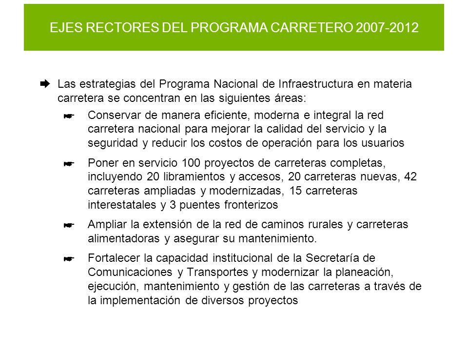 EJES RECTORES DEL PROGRAMA CARRETERO 2007-2012