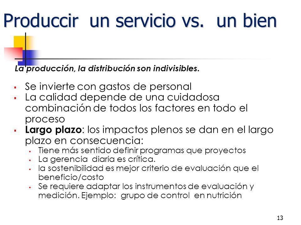 Produccir un servicio vs. un bien