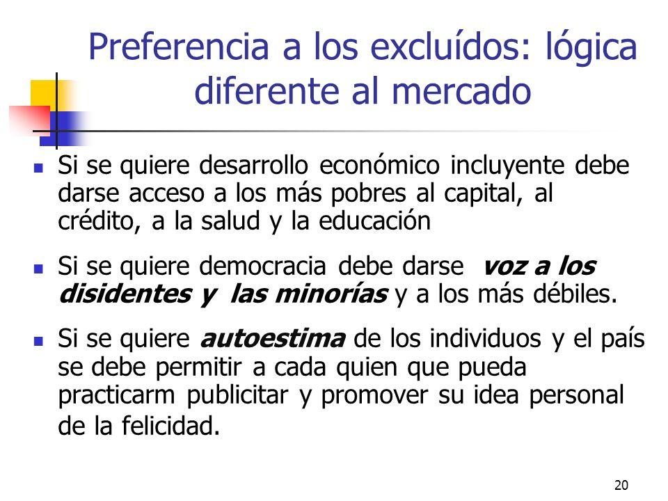 Preferencia a los excluídos: lógica diferente al mercado