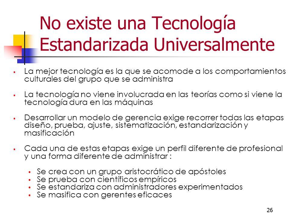 No existe una Tecnología Estandarizada Universalmente