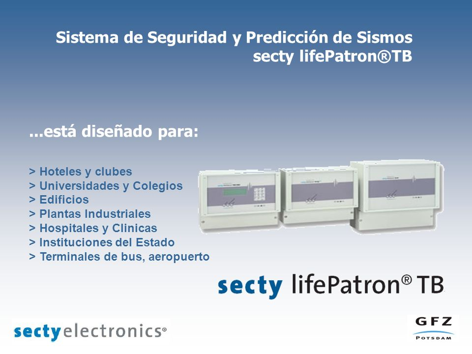 Sistema de Seguridad y Predicción de Sismos secty lifePatron®TB