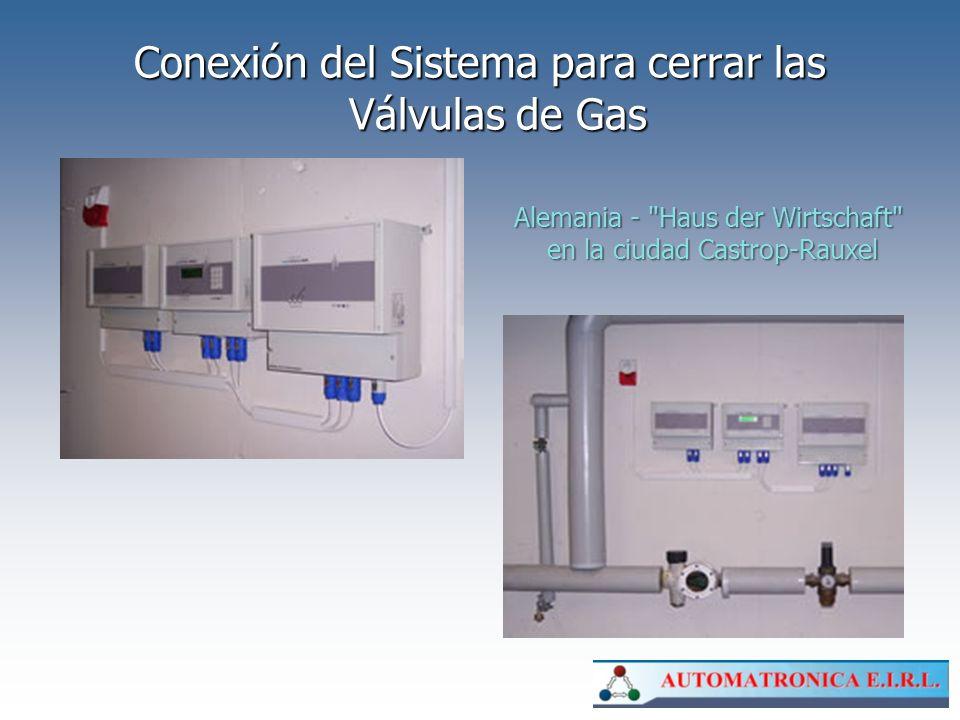 Conexión del Sistema para cerrar las Válvulas de Gas