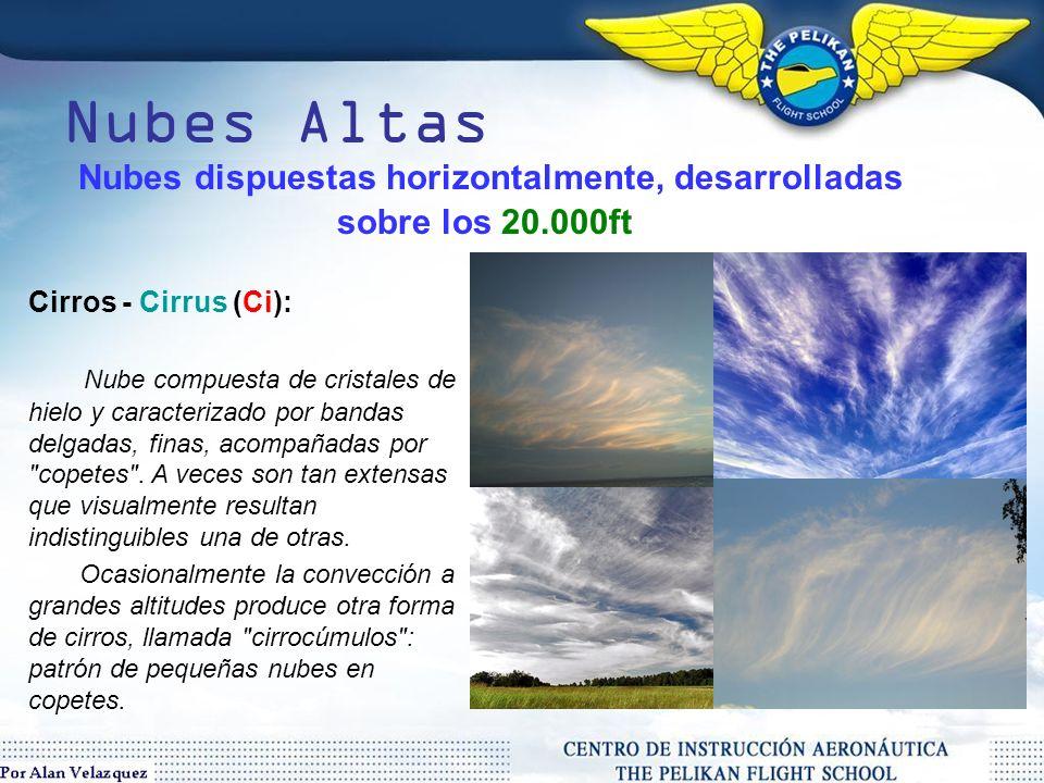 Nubes dispuestas horizontalmente, desarrolladas sobre los 20.000ft