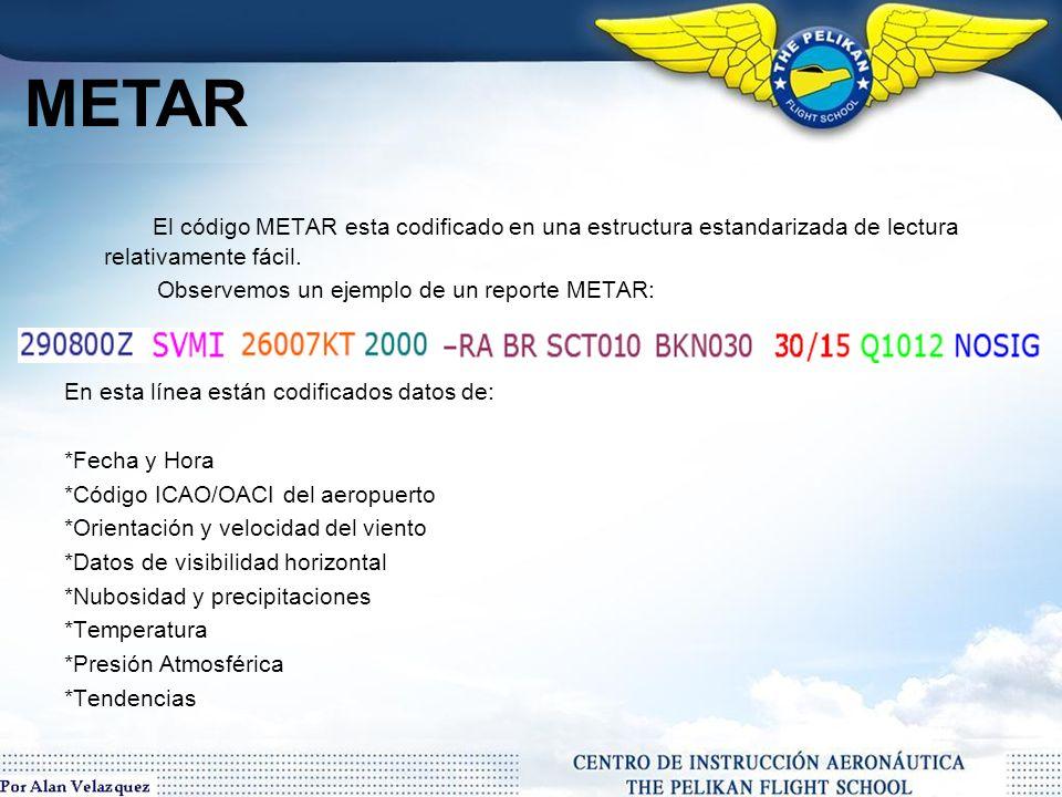 METAR El código METAR esta codificado en una estructura estandarizada de lectura relativamente fácil.