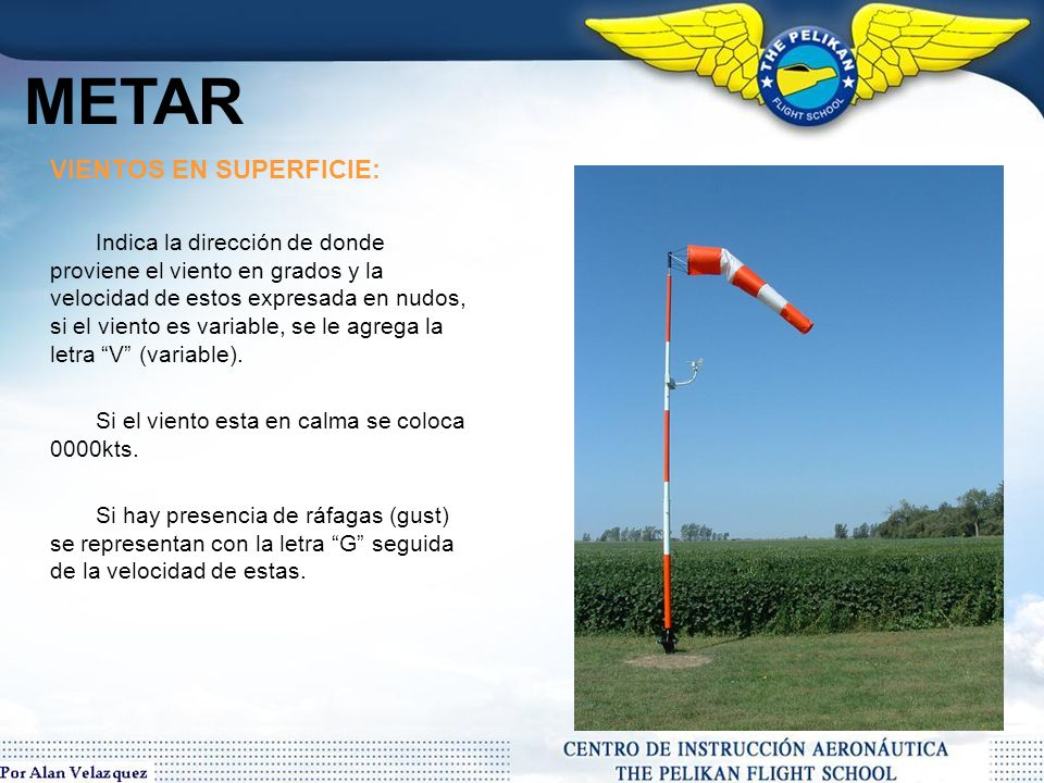 METAR VIENTOS EN SUPERFICIE: