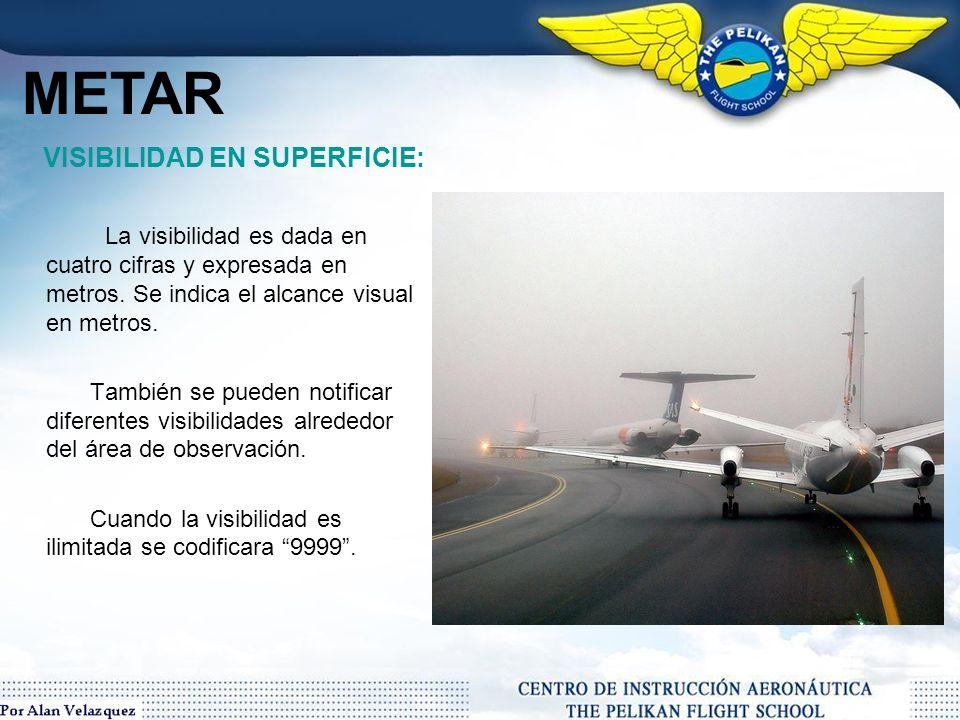 METAR VISIBILIDAD EN SUPERFICIE: La visibilidad es dada en cuatro cifras y expresada en metros. Se indica el alcance visual en metros.