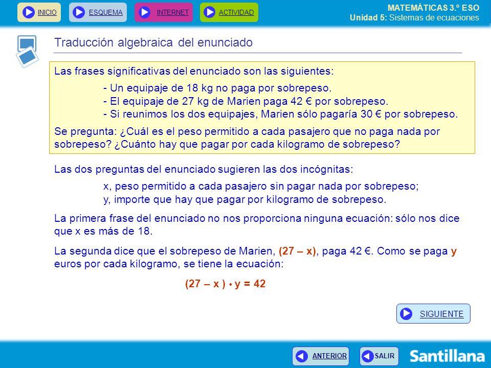 Traducción algebraica del enunciado